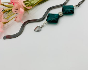 Bookmark/Beaded Bookmark/Teal Bookmark/Glass Bookmark/Gift Ideas/Gift for Her/Christmas/Birthday/Graduation/Teacher Gift/Book Accessories