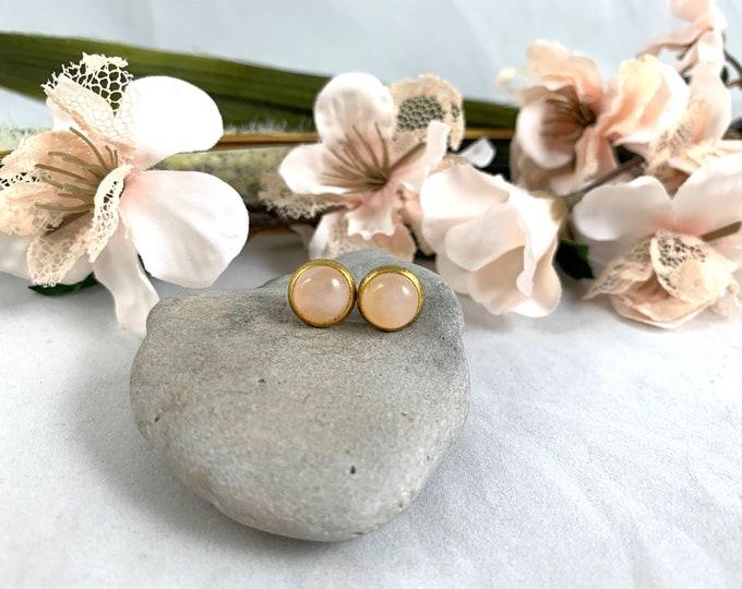 Gold Plated Rose Quartz Stud Earrings/Small Handmade Post Earrings