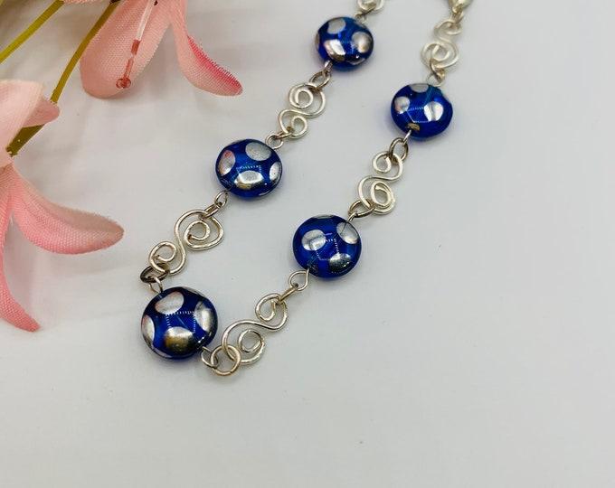 Blue Glass Wire Wrap Bracelet, Handmade Silver Plated Bracelet, 7.5inch Bracelet, Wire Wrap Jewelry, Delicate Bracelet