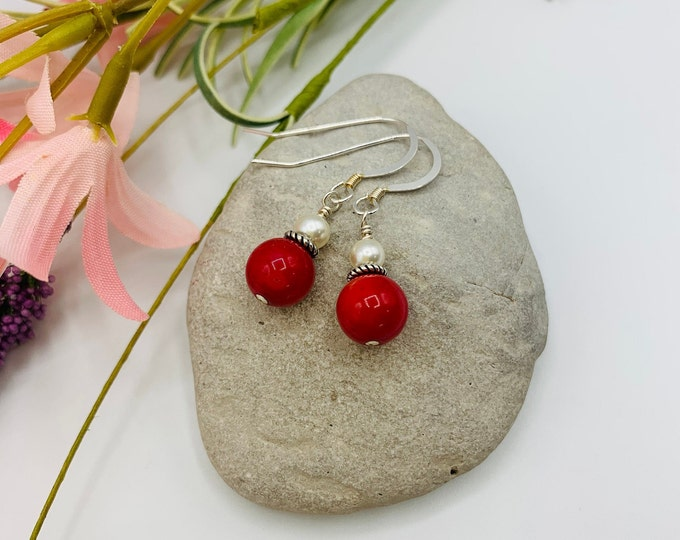 Red Coral Sterling Silver Earrings, Handmade Dangle Earrings, Simple Earrings, Delicate Earrings, Coral Jewelry