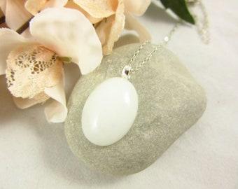 White Mountain Jade Pendant/Pendant Necklace/Sterling Necklace/Handmade Necklace/Mountain Jade Jewelry/Modern Jewelry/Simple Jewelry
