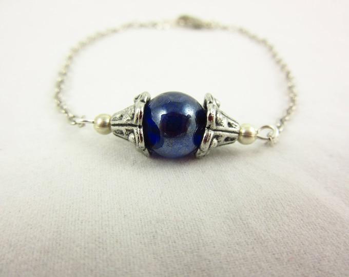 Blue Glass Bracelet/Silver Bracelet/Handmade Bracelet/7.5inch Bracelet/Simple Bracelet/Delicate Bracelet/Modern Jewelry/Simple Jewelry