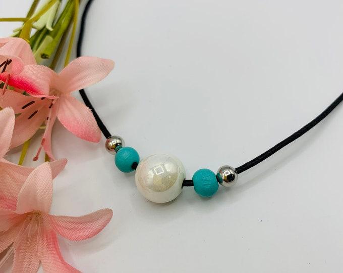 White Iridescent Glass Choker, Handmade Black Cord Choker, 15inch Choker, Boho Jewelry