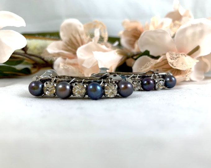 Gray Iridescent Freshwater Pearl Beaded Barrettes/Handmade Barrettes/French Barrettes/Beaded Hair Clips/Hair Clips/Barrette Set
