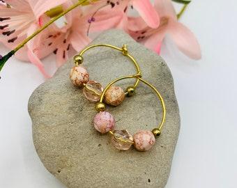 Pink Glass Beaded Gold Plated Hoop Earrings, Handmade Earrings, Simple Earrings, Delicate Earrings