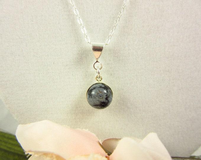 Sterling Silver Snowflake Obsidian Pendant Necklace/18inch Necklace/Handmade Pendant Necklace/Teen Necklace/Teen Jewelry/Delicate Necklace