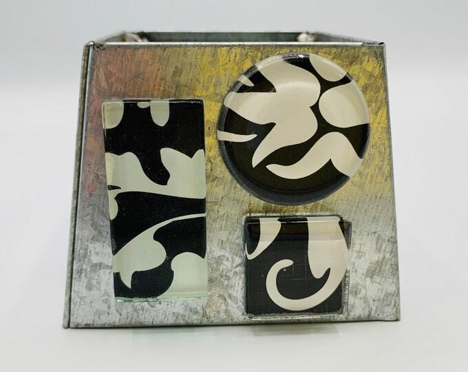 Black White Magnets/Refrigerator Magnets/Magnet Set/Work Board Magnets/Handmade Magnets/Small Gift/Set of 3 Magnets