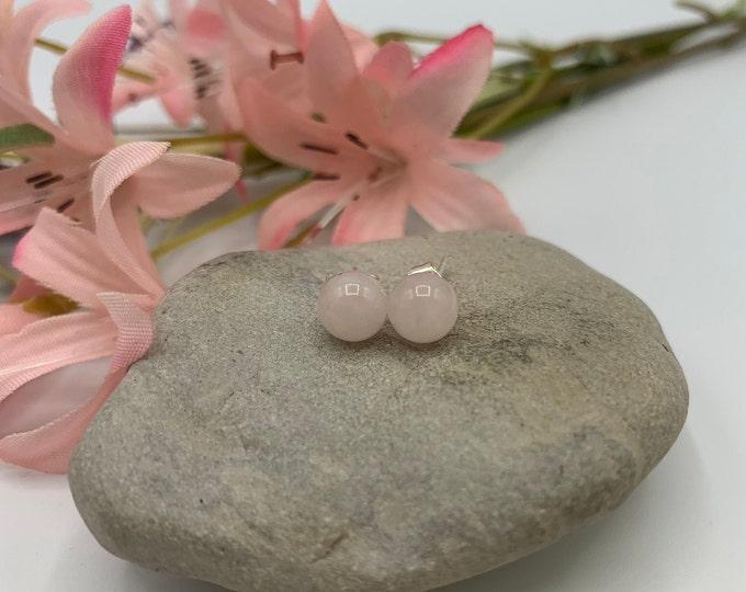 Sterling Silver Rose Quartz Stud Earrings/Handmade Earrings/Delicate Earrings/Simple Earrings/Small Earrings