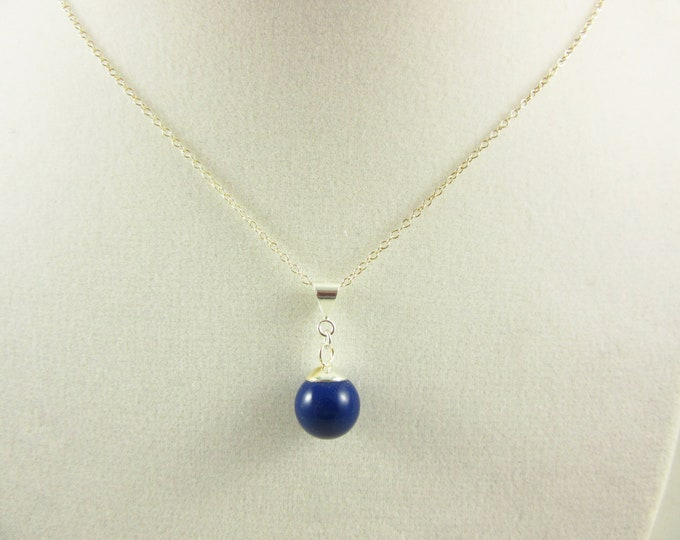 Sterling Silver Blue Pearl Pendant Necklace/18inch Necklace/Handmade Necklace/Delicate Necklace/Simple Necklace