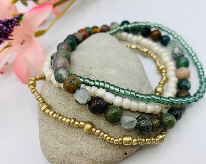 Jasper Beaded Stack Bracelets, Stackable Bracelet Set, Handmade Stretch Bracelet, Custom Size Bracelet Set, Boho Jewelry, Custom Jewelry
