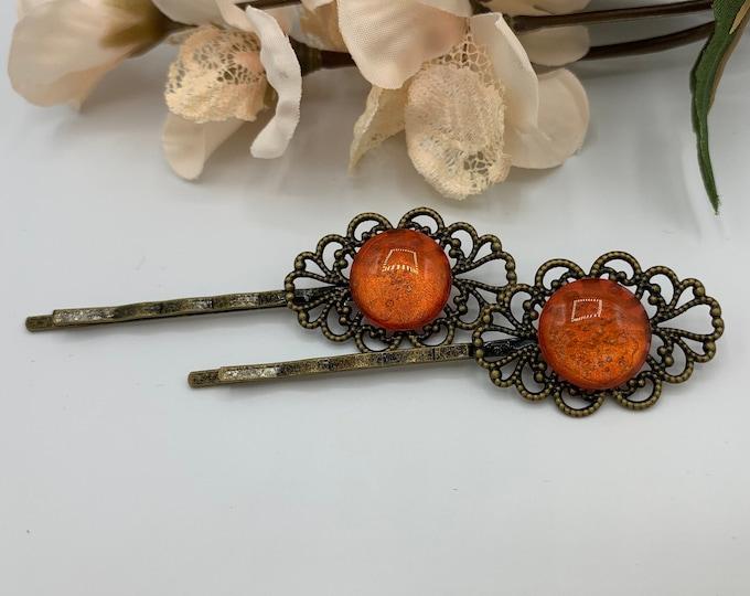 Antique Brass Orange Hair Pins/Boho Hair Accessory/Handmade Hairpins/Orange Bobby Pins