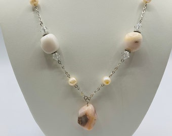 Pink Opal Silver Plated Statement Necklace, Handmade Y Necklace, 23inch Necklace, Modern Jewelry