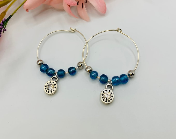 Blue Glass Beaded Silver Plated Hoop Earrings, Handmade Earrings, Simple Earrings, Delicate Earrings