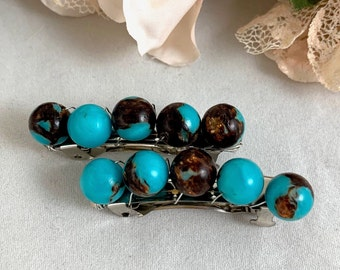 Turquoise and Bronzite Beaded Barrettes/Handmade Barrettes/French Barrettes/Beaded Hair Clips/Hair Clips/Barrette Set