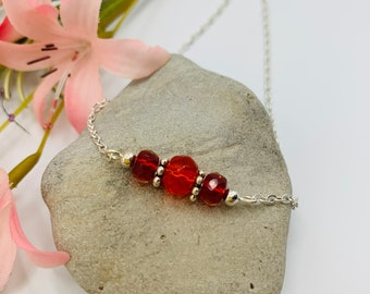 Red Glass Beaded Anklet/Handmade Anklet/Custom Size Anklet/Simple Silver Anklet/Beach Anklet/Beach Jewelry/Resort Jewelry/Summer Jewelry