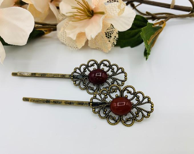 Antique Brass Burgundy Agate Hair Pins/Boho Hair Accessory/Handmade Hairpins/Burgundy Bobby Pins/Agate Bobby Pins