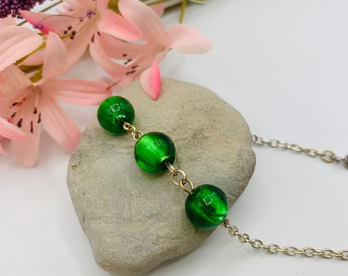 Green Glass Beaded Anklet/Handmade Anklet/Custom Size Anklet/Simple Silver Anklet/Beach Anklet/Beach Jewelry/Resort Jewelry/Summer Jewelry