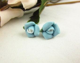 Blue Ceramic Rose Earrings/Stud Earrings/Handmade Earrings/Girls Earrings/Teen Earrings/Delicate Earrings/Small Earrings/Teen Jewelry