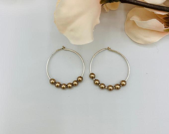 Sterling Silver Beige Pearl Hoop Earrings/Handmade Earrings/Beige Earrings/Small Hoop Earrings/Simple Hoop Earrings