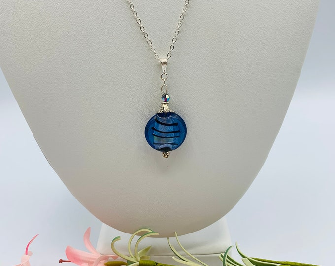 Blue Glass Silver Plated Pendant Necklace, Handmade 18inch Necklace, Delicate Necklace, Simple Necklace