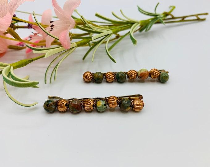 Unakite Beaded Hair Pins/Beaded Bobby Pins/Hair Accessories/Hair Jewelry/Handmade Hair Pins/Bobby Pins/Boho Accessories/Hair Pins