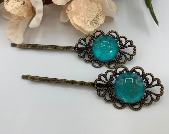 Antique Brass Aqua Blue Hair Pins/Boho Hair Accessory/Handmade Hairpins/Aqua Blue Bobby Pins