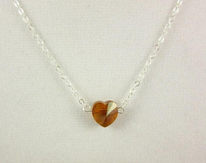 Swarovski Heart Necklace/Silver Heart Necklace/Custom Necklace/Handmade Necklace/Teen Necklace/Girls Necklace/Teen Jewelry/Kids Jewelry