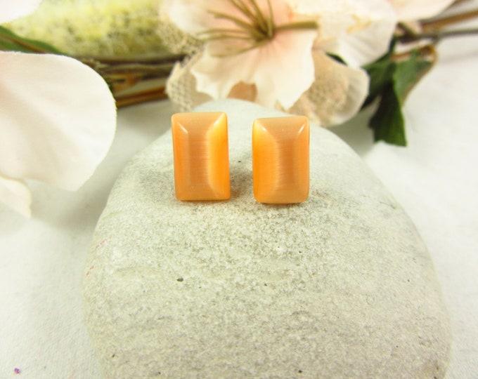 Orange Cats Eye Earrings/Stud Earrings/Silver Earrings/Handmade Earrings/Cats Eye Jewelry/Modern Jewelry/Simple Earrings/Small Earrings