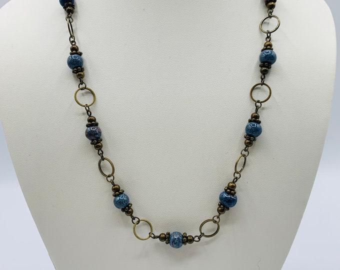 Blue Ceramic Beaded Necklace/18inch Handmade Necklace/Antique Brass Necklace/Boho Necklace/Boho Jewelry/Ceramic Jewelry