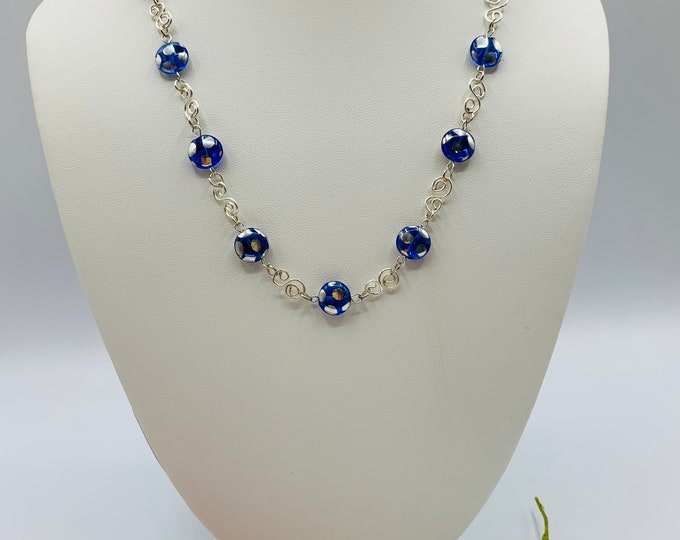 Blue Glass Wire Wrap Necklace, Handmade Silver Plated Necklace, 18inch Necklace, Wire Wrap Jewelry