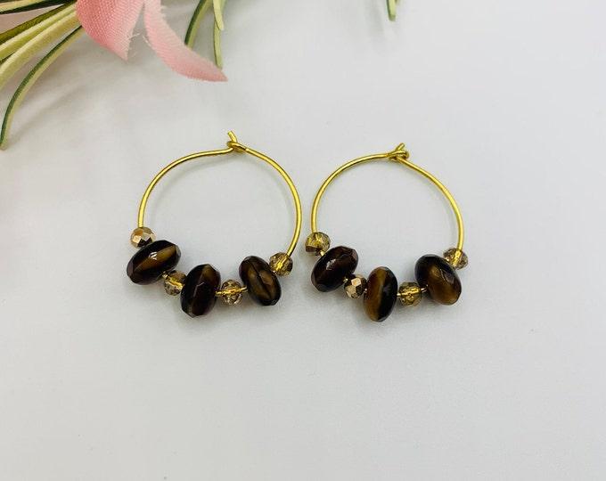 Brown Glass Beaded Gold Plated Hoop Earrings, Handmade Earrings, Simple Earrings, Delicate Earrings
