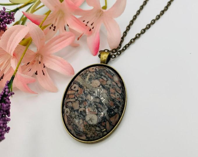 Leopard Skin Jasper Pendant/Jasper Necklace/Pendant Necklace/Handmade Pendant/Antique Copper Necklace/Modern Jewelry/Custom Jewelry