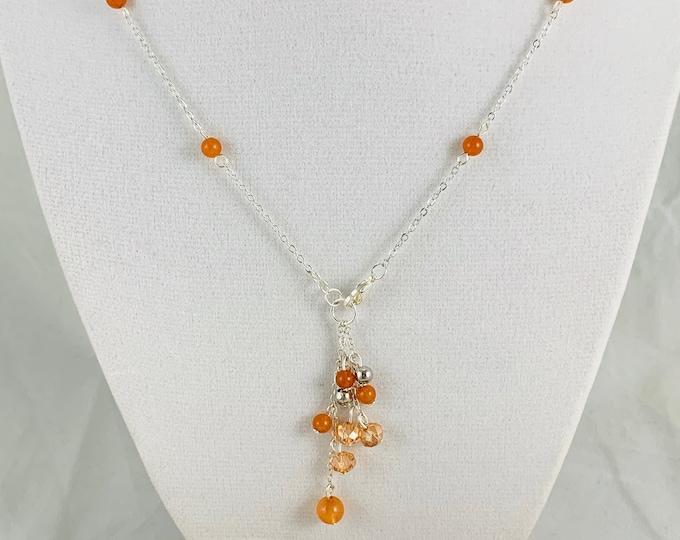 Orange Quartz Necklace/Handmade Necklace/Silver Necklace/18inch Y-Necklace/Delicate Necklace/Simple Necklace