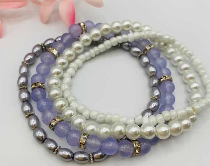 Purple Beaded Stack Bracelets, Stackable Bracelet Set, Handmade Stretch Bracelet, Custom Size Bracelet Set, Boho Jewelry, Custom Jewelry