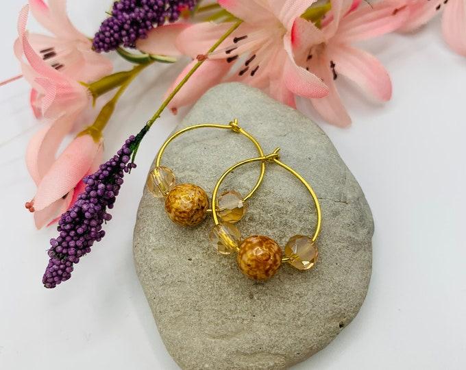 Peach Glass Beaded Gold Plated Hoop Earrings, Handmade Earrings, Simple Earrings, Delicate Earrings