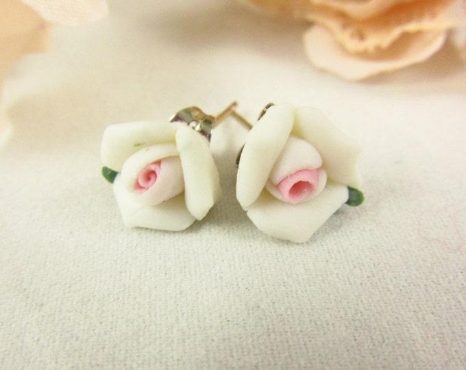 White Ceramic Rose Earrings/Stud Earrings/Handmade Earrings/Girls Earrings/Teen Earrings/Delicate Earrings/Small Earrings/Teen Jewelry