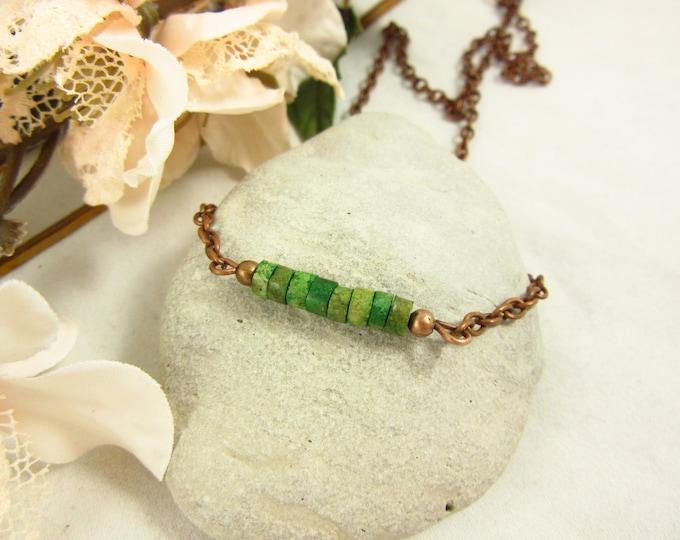 Magnesite Choker Necklace/Green Choker/Green Necklace/15inch Choker/Handmade Choker/Antique Copper Choker/Boho Jewelry/Modern Jewelry