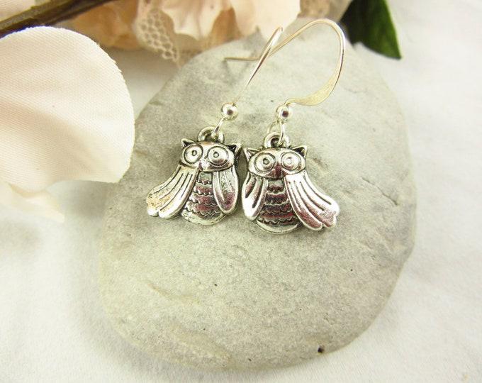 Silver Owl Earrings/Dangle Earrings/Handmade Earrings/Teen Jewelry/Kids Jewelry/Small Earrings/Teen Earrings/Kids Earrings/Gift for Her