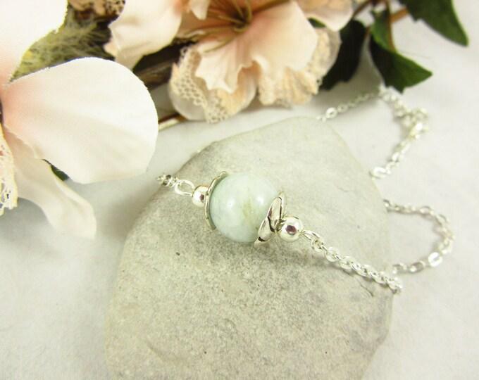 Aquamarine Anklet/Handmade Anklet/Silver Anklet/Custom Size Anklet/Simple Anklet/Birthstone Anklet/Birthstone Jewelry/Simple Jewelry