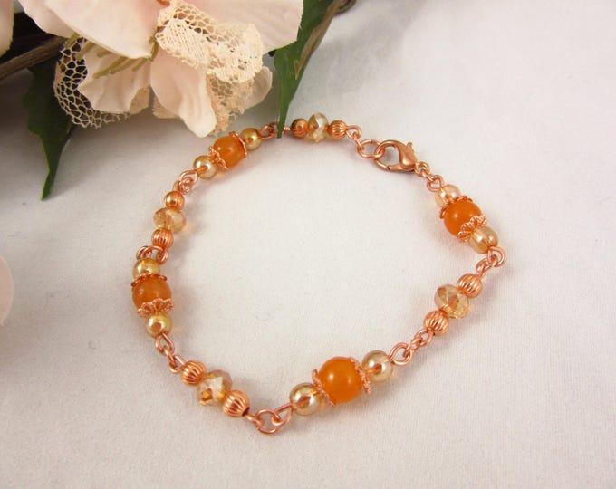 Orange Quartz Bracelet/Copper Bracelet/7.5inch Bracelet/Handmade Bracelet/Beaded Bracelet/Quartz Jewelry/Copper Jewelry/Valentines Gift