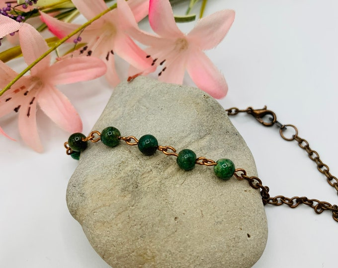 Green Aventurine Beaded Anklet/Handmade 9.5inch Anklet/Simple Antique Copper Ankle/Beach Anklet/Beach Jewelry/Resort Jewelry/Summer Jewelry