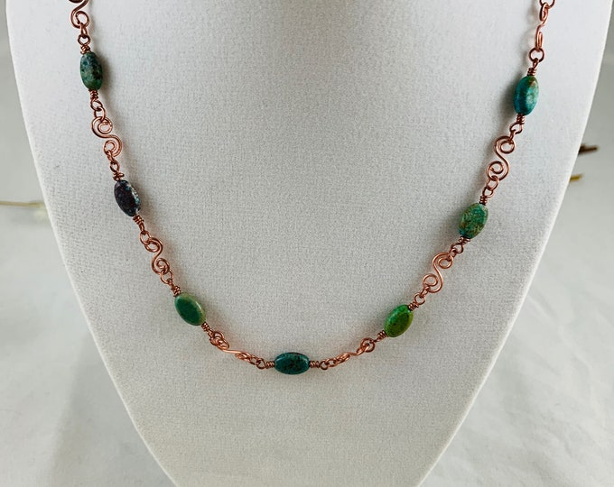 Turquoise Necklace/Wire Wrap Necklace/Copper Necklace/18inch Necklace/Handmade Necklace/Wire Wrap Jewelry/Modern Jewelry/Turquoise Jewelry