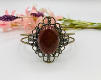 Red Jasper Cuff Bracelet - Antique Brass Bracelet - 8inch Cuff Bracelet - Boho Bracelet - Boho Jewelry