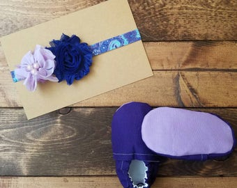 0-6 month solid purple crib shoes, infant baby booties, fabric moccasins, crib shoes