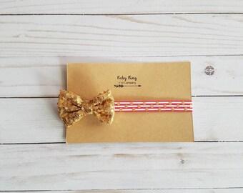 6-12 month sequin gold bow infant headband, baby headband, newborn bows, photo prop, baby girl headband || FREE SHIPPING