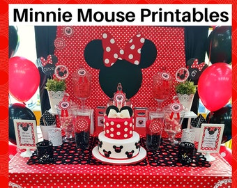 Red Minnie Mouse Printable Set - FREE customization - Invitation, Party bag tags, Circles, Drink labels, Bunting  - Instant Digital Download