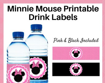 Minnie Mouse Drink Labels - Printable bottle wrappers in pink and black - Party supplies - Instant Download