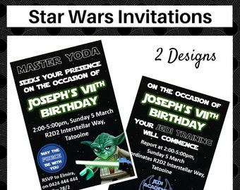 STAR WARS printable party invitations - Personlisation included - 2 designs - Lego Yoda and Jedi Academy - Instant digital download