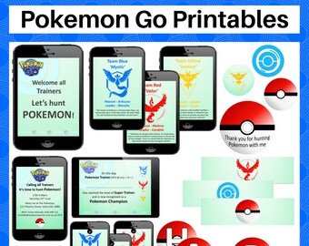 Pokemon Go Party Printable Pack - Invitation, Team Posters, Trainer ID Badge, Drink Bottle Wrappers, Pokeballs - Instant Download