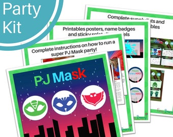 PJ MASK Party Kit - Party activity instructions - Printable poster, badges - Party Ideas  - For Girls & Boys - Instant digital download